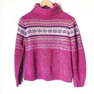Fair Isle Nordic Turtleneck Chunky Knit Sweater